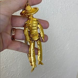Vintage moveable Mexican puppet necklace